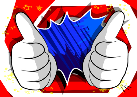 Vector cartoon hands making thumbs up sign. Illustrated hand expression, gesture on comic book background.