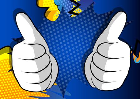Manos de dibujos animados vector haciendo pulgares arriba signo. Expresión ilustrada de la mano, gesto sobre fondo de cómic. Ilustración de vector
