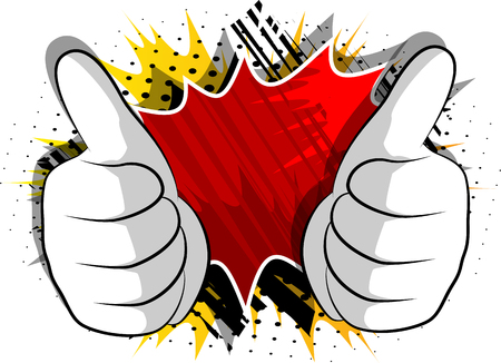Vector cartoon hands making thumbs up sign. Illustrated hand expression, gesture on comic book background. Ilustração