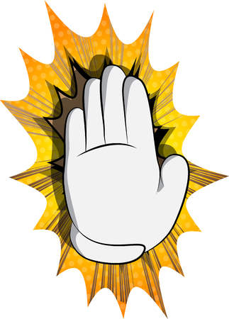 Vector cartoon hand showing deny or refuse gesture. Illustrated Like hand sign on comic book background. Stok Fotoğraf - 116181402