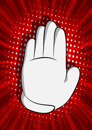 Vector cartoon hand showing deny or refuse gesture. Illustrated Like hand sign on comic book background. Stok Fotoğraf - 116181405