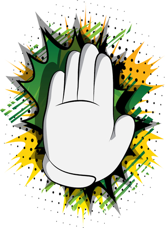 Vector cartoon hand showing deny or refuse gesture. Illustrated Like hand sign on comic book background. Stock Vector - 116181407