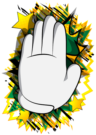 Vector cartoon hand showing deny or refuse gesture. Illustrated Like hand sign on comic book background. Stok Fotoğraf - 116181408