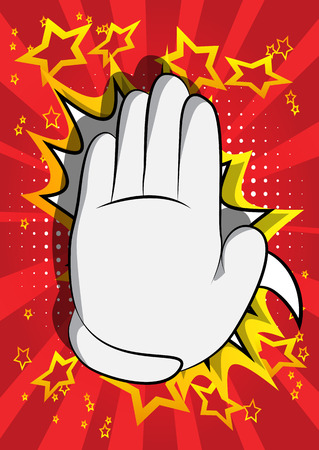 Vector cartoon hand showing deny or refuse gesture. Illustrated Like hand sign on comic book background. Foto de archivo - 116181411