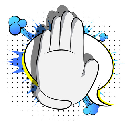 Vector cartoon hand showing deny or refuse gesture. Illustrated Like hand sign on comic book background.