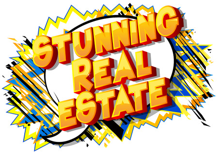 Stunning Estate - Vector illustrated comic book style phrase on abstract background.
