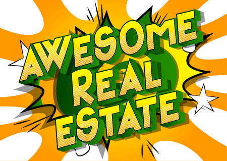Awesome Real Estate - Vector illustrated comic book style phrase on abstract background. Stock Illustratie