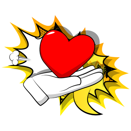 Vector cartoon hand showing red heart. Illustrated sign on comic book background.