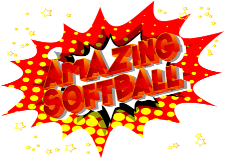 Amazing Softball - Vector illustrated comic book style phrase on abstract background.