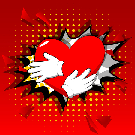 Vector cartoon hand hugging red heart. Illustrated sign on comic book background.
