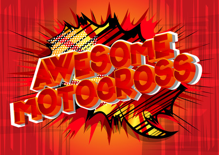 Awesome Motocross - Vector illustrated comic book style phrase on abstract background.