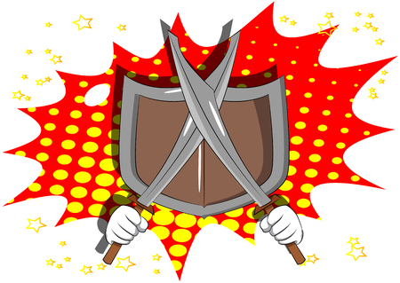 Vector cartoon hands holding two swords with shield. Illustrated sign on comic book background.