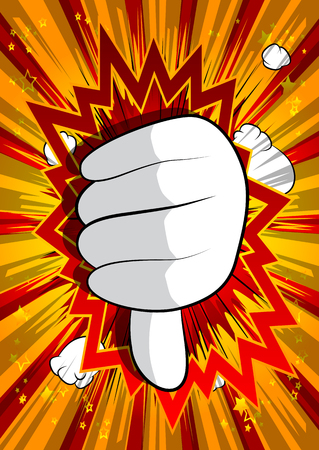 Vector cartoon hand showing dislike. Illustrated hand sign on comic book background. Stockfoto - 116550384