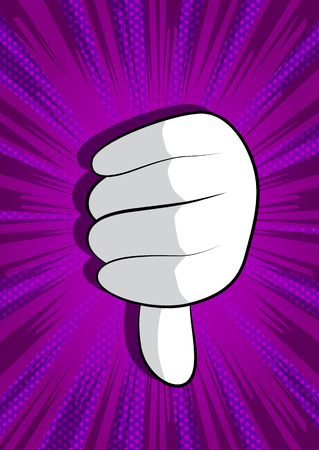 Vector cartoon hand showing dislike. Illustrated hand sign on comic book background.