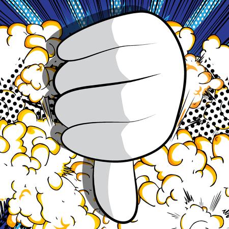 Mano de dibujos animados vector mostrando disgusto. Signo de mano ilustrado sobre fondo de cómic. Ilustración de vector