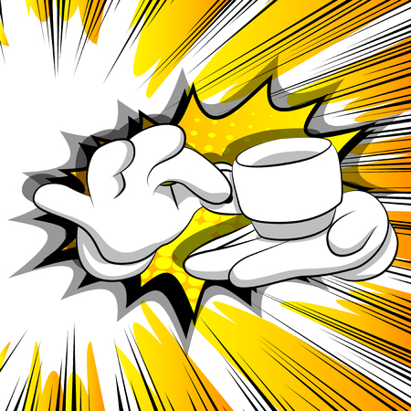 Vector cartoon hands holding a cup of coffee. Illustrated sign on comic book background.