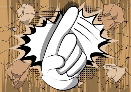 Vector cartoon nee zeggen met zijn vinger. Geïllustreerd handteken op stripboekachtergrond.