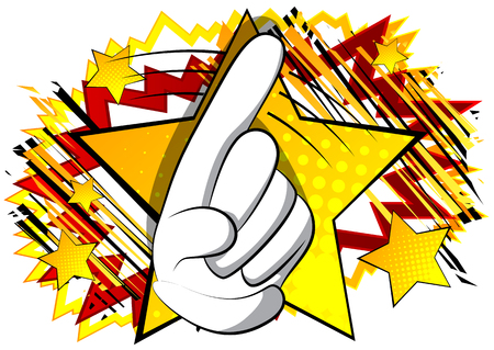 Vector cartoon saying no with his finger. Illustrated hand sign on comic book background.
