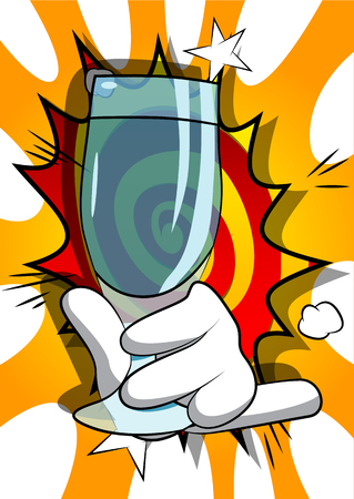 Vector cartoon hand holding full glass. Illustrated hand on comic book background.