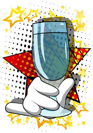Vector cartoon hand holding full glass. Illustrated hand on comic book background. Banco de Imagens - 116897267