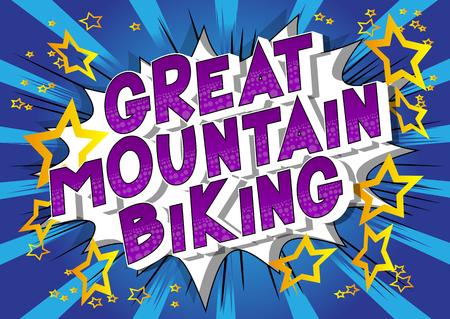 Grande mountain bike - Vettore illustrata in stile fumetto una frase su sfondo astratto. Vettoriali