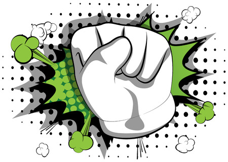 Vector cartoon hand making power to the people fist gesture. Illustrated hand sign on comic book background.