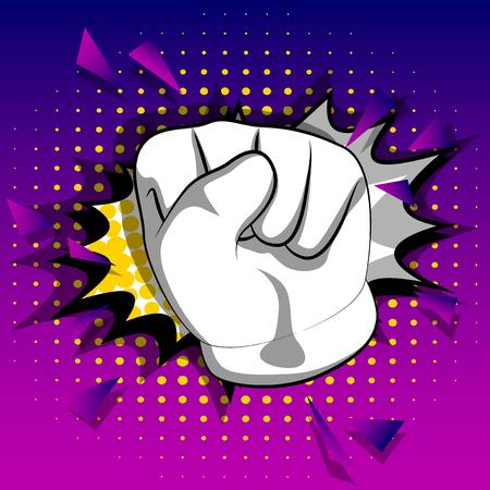 Vektorkarikaturhand, die Macht zur Faustgeste der Leute macht. Illustriertes Handzeichen auf Comic-Hintergrund.