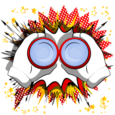 Mano de dibujos animados vector sosteniendo un binocular para mirar a través. Signo ilustrado sobre fondo de cómic.