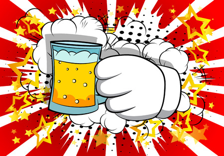 Vector cartoon hands holding a beer. Illustrated sign on comic book background.