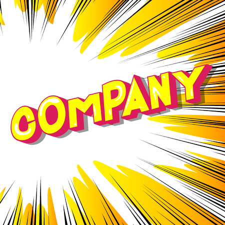 Company - Vector illustrated comic book style phrase on abstract background. 向量圖像