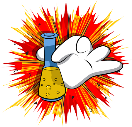 Vektorkarikaturhand, die ein Reagenzglas hält. Illustrierte Hand auf Comic-Hintergrund.