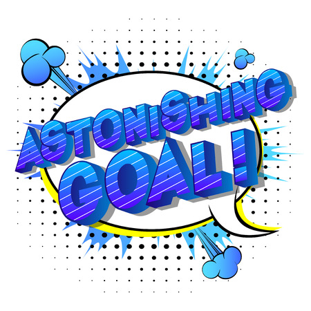 Astonishing Goal! - Vector illustrated comic book style phrase on abstract background. Stock Illustratie