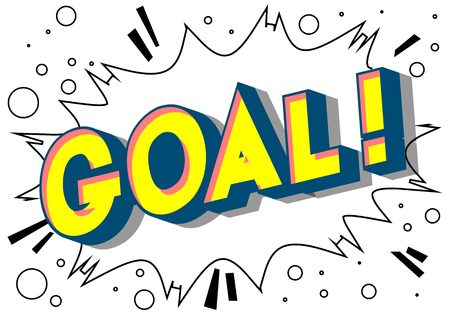 Goal! - Vector illustrated comic book style phrase on abstract background.