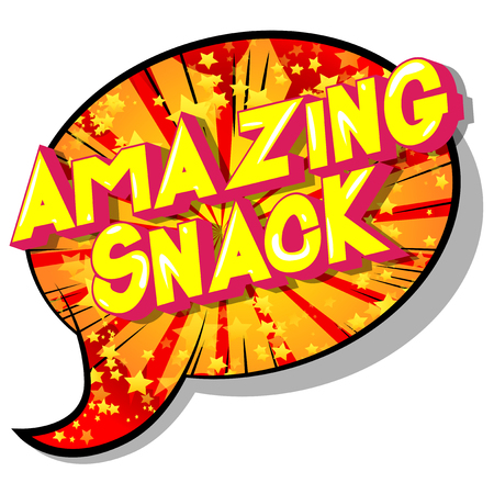 Amazing Snack - Vector illustrated comic book style phrase on abstract background. Ilustração