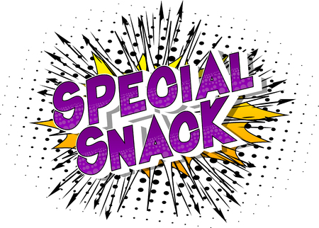 Special Snack - Vector illustrated comic book style phrase on abstract background. Archivio Fotografico - 117661166