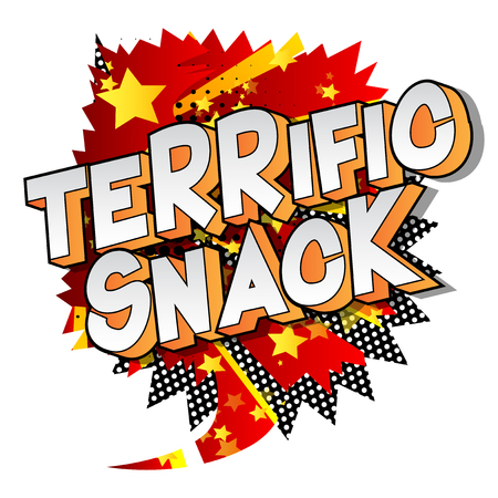 Terrific Snack - Vector illustrated comic book style phrase on abstract background. Çizim