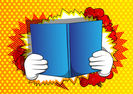 Vector cartoon hand holding a book. Illustrated hand with opened book on comic book background.