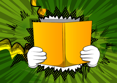 Vector cartoon hand holding a book. Illustrated hand with opened book on comic book background. Banco de Imagens - 117908566