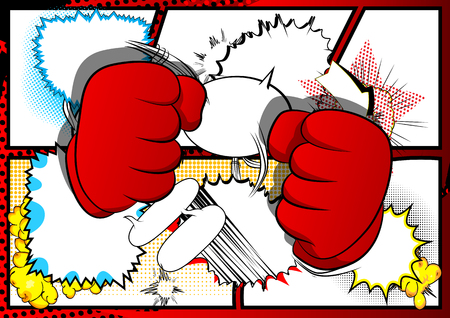 Vector cartoon hands ready to fight. Illustrated hand sign on comic book background. Ilustração