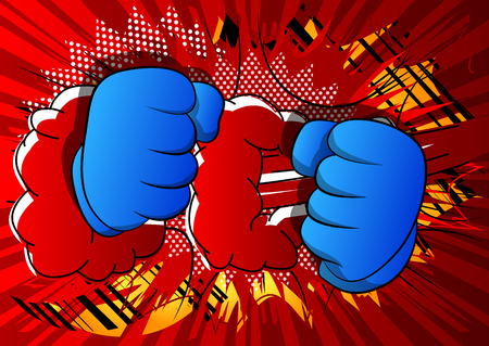 Vector cartoon hands ready to fight. Illustrated hand sign on comic book background. Иллюстрация
