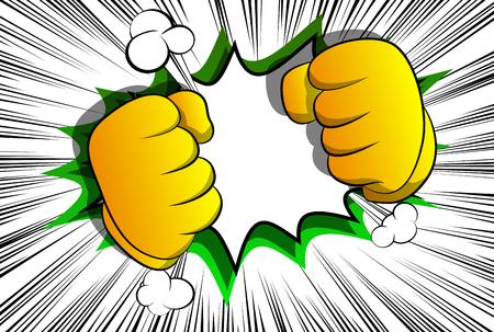 Manos de dibujos animados de vector listas para luchar. Signo de mano ilustrado sobre fondo de cómic.