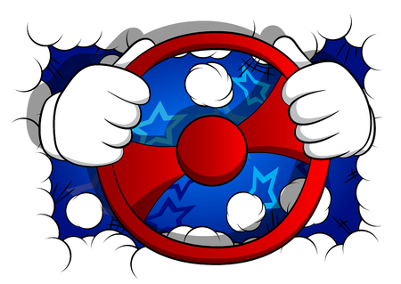 Vector cartoon hands driving, holding a steering wheel. Illustrated hand gesture on comic book background.