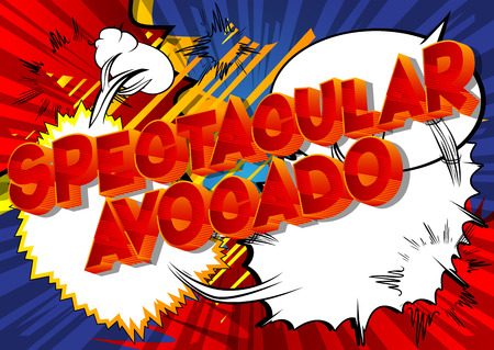 Spectacular Avocado - Vector illustrated comic book style phrase on abstract background. Çizim