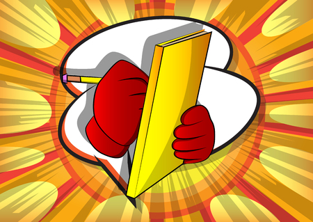 Vector cartoon hand writing with pencil on a books cover. Illustrated sign on comic book background.