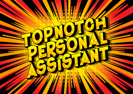 Topnotch Personal Assistant - Vector illustrated comic book style phrase on abstract background.