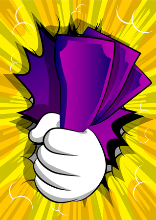 Vector cartoon hand holding or showing money bills. Illustrated hand on comic book background. Illustration
