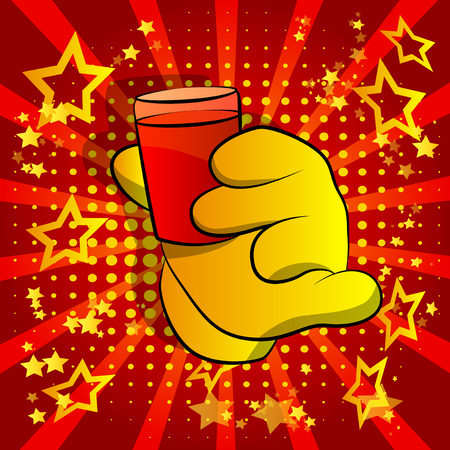 Vector cartoon hand holding a cup of brandy. Illustrated hand on comic book background.