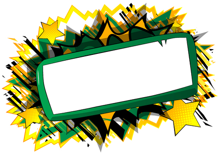 Vector cartoon blank paper on board. Illustrated blank sign on comic book background. Çizim
