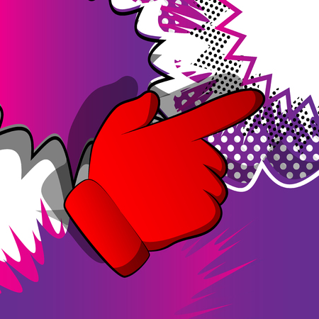 Vector cartoon pointing hand. Illustrated hand expression, gesture on comic book background. Illusztráció