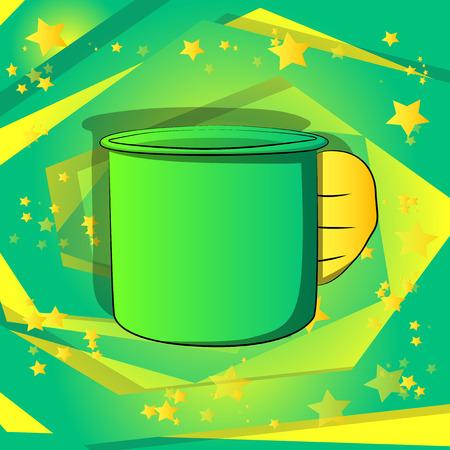 Vector cartoon hand holding big mug. Illustrated hand on comic book background. Illustration